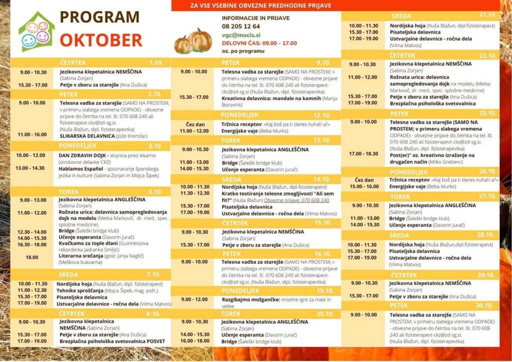 Program Andeški hram - oktober 2020