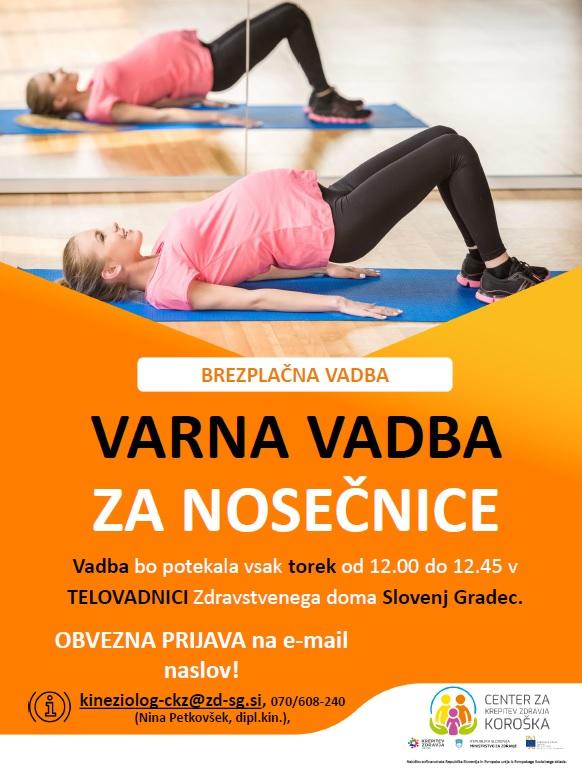 Brezplačna vadba za nosečnice v septembru 2020